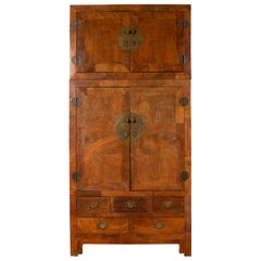 Chinese Vintage Elm Compound Two-Part Wedding Wardrobe with Doors and Drawers