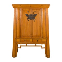 Chinese Vintage Elm Wedding Cabinet with Large Butterfly Hardware and Drawers