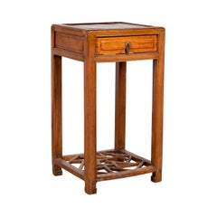 Chinese Vintage Elmwood Lamp Table with Single Drawer and Cracked Ice Shelf