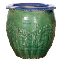 Chinese Vintage Green and Blue Glazed Garden Planter with Raised Animal Décor