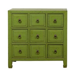 Chinese Vintage Green Painted Nine-Drawer Apothecary Bedside Chest