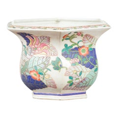 Chinese Vintage Hexagonal Planter with Pastel Foliage, Flowers and Butterflies