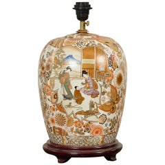 Chinese Vintage Japanese Kutani Style Lamp with Court Scenes and Wooden Base