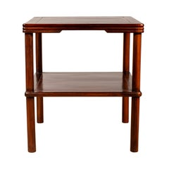 Chinese Vintage Midcentury Square-Shaped Side Table with Lower Shelf