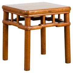 Chinese Vintage Ming Dynasty Style Accent Side Table with Humpback Stretcher