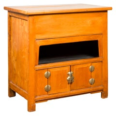 Chinese Vintage Natural Elmwood Console Cabinet with Removable Top and Doors