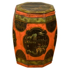 Chinese Vintage Octagonal Garden Seat with Hand Painted Décor and Lid