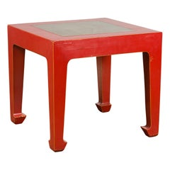 Chinese Vintage Red Lacquer Side Table with Qing Dynasty Stone Garden Tiles Top