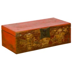 Chinese Vintage Red Lacquered Box with Golden Motifs and Bronze Hardware