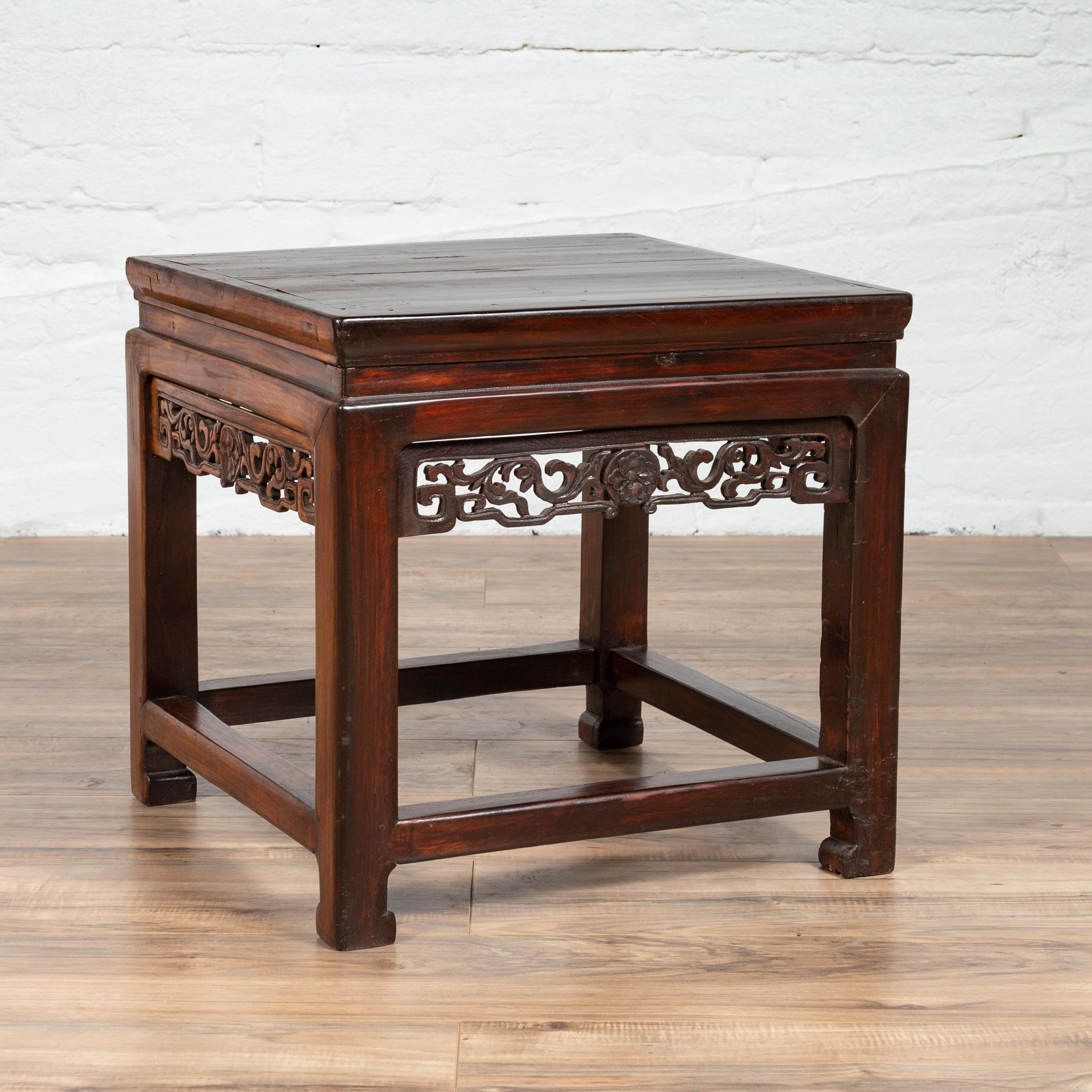 Chinese Vintage Side Table With Dark Wood Patina And Hand Carved Foliage Decor