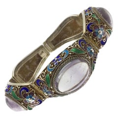 Chinese Vintage Silver Bracelet Natural Amethyst Enamel Detail 1920S