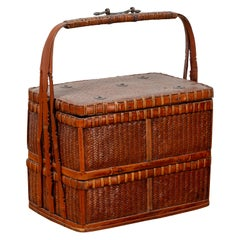 Chinese Vintage Small Tiered Rattan Picnic Basket with Large Handle