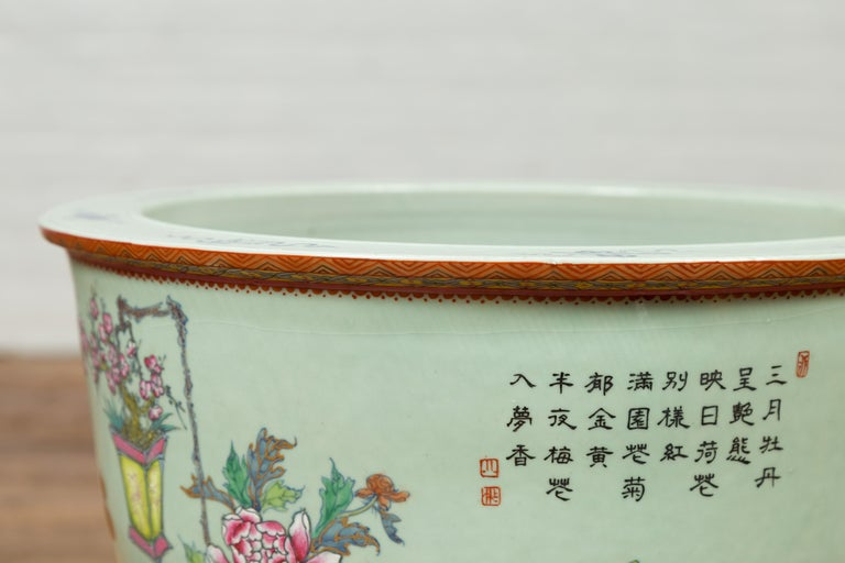Chinese Vintage Soft Green Vase with Hand Painted Decor of Flowers and Elephants For Sale 4