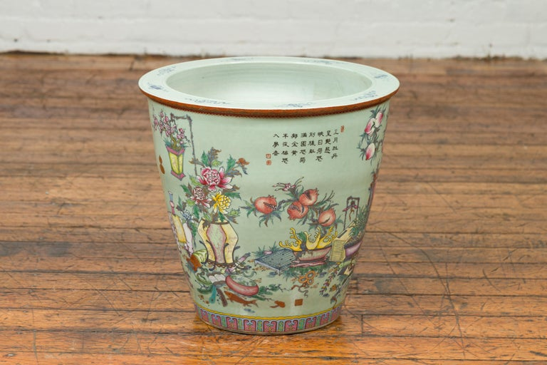 Chinese Vintage Soft Green Vase with Hand Painted Decor of Flowers and Elephants For Sale 5