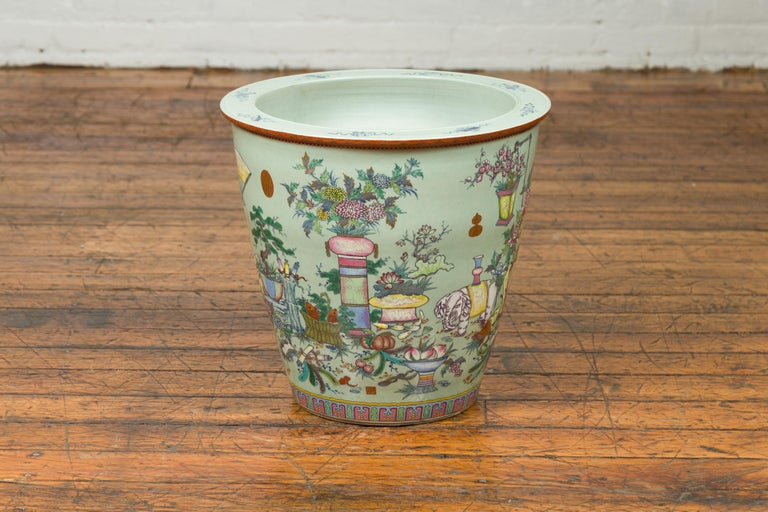 Chinese Vintage Soft Green Vase with Hand Painted Decor of Flowers and Elephants For Sale 6