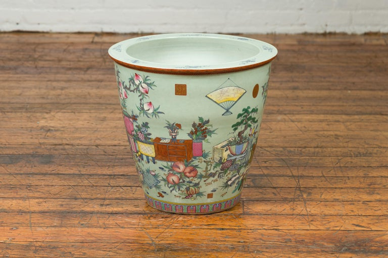 Chinese Vintage Soft Green Vase with Hand Painted Decor of Flowers and Elephants For Sale 7