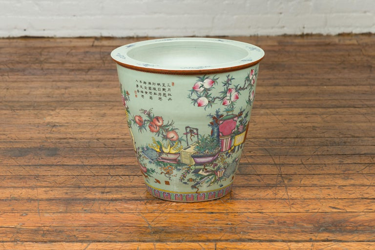 Chinese Vintage Soft Green Vase with Hand Painted Decor of Flowers and Elephants For Sale 8