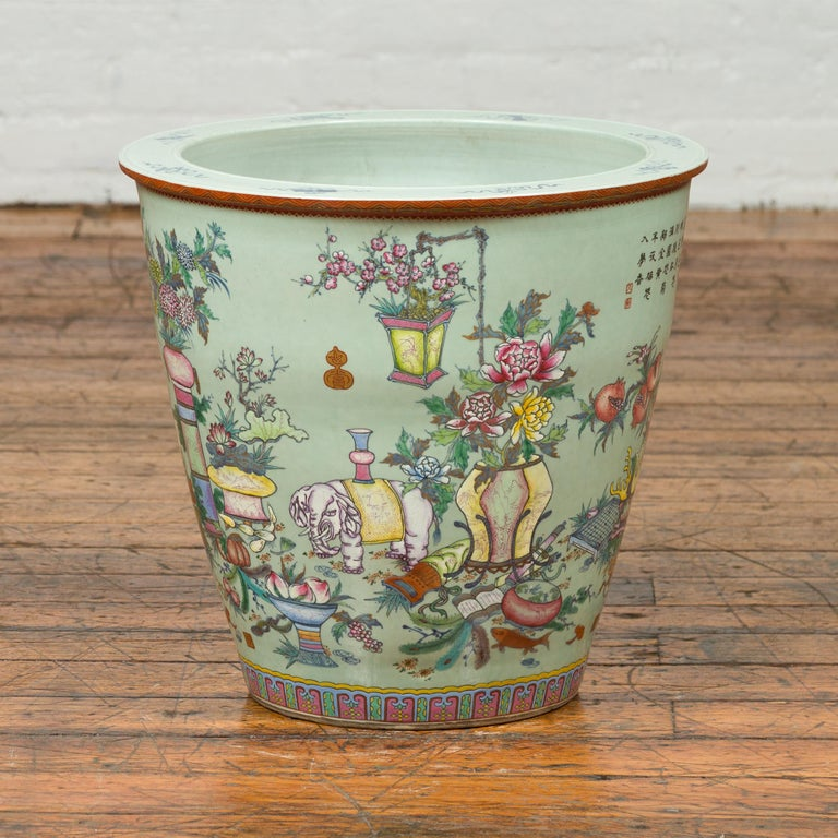 Asian Chinese Vintage Soft Green Vase with Hand Painted Decor of Flowers and Elephants For Sale
