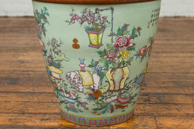20th Century Chinese Vintage Soft Green Vase with Hand Painted Decor of Flowers and Elephants For Sale