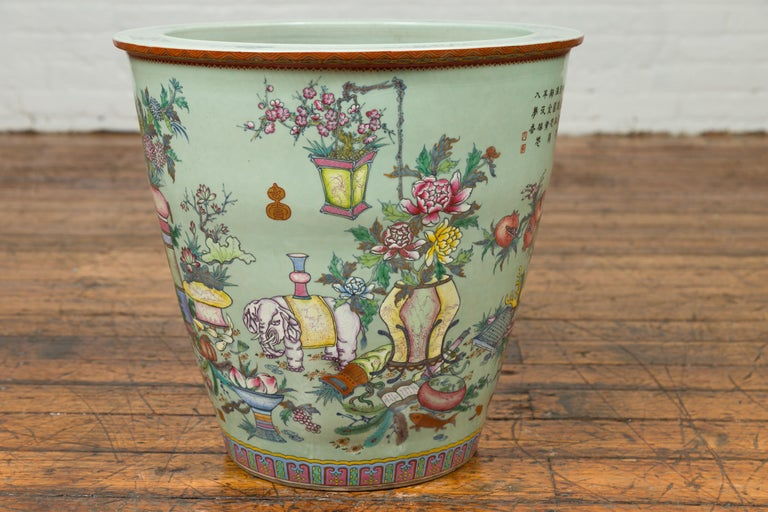 Ceramic Chinese Vintage Soft Green Vase with Hand Painted Decor of Flowers and Elephants For Sale