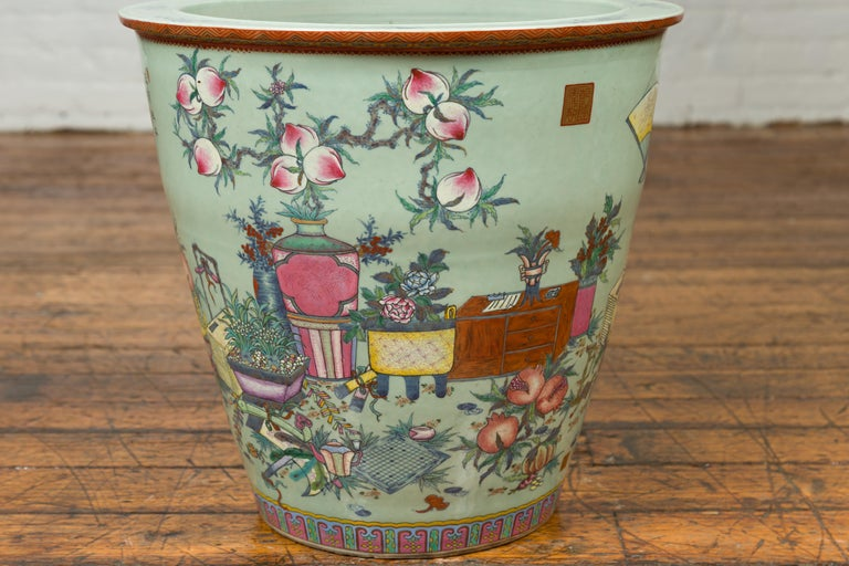 Chinese Vintage Soft Green Vase with Hand Painted Decor of Flowers and Elephants For Sale 2