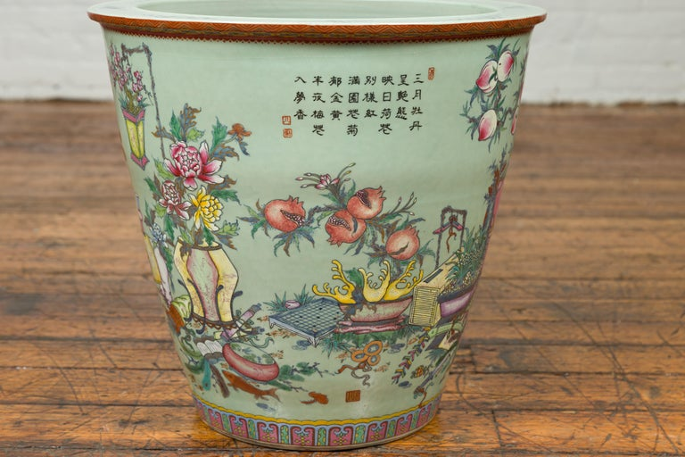 Chinese Vintage Soft Green Vase with Hand Painted Decor of Flowers and Elephants For Sale 3