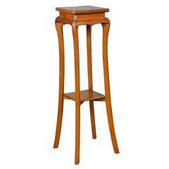 Chinese Vintage Tall Wooden Pedestal with Cabriole Legs and Lower Shelf