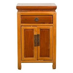 Chinese Vintage Two-Toned Side Table with Single Drawer and Double Doors