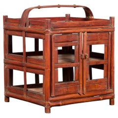 Chinese Vintage Unusual Bamboo Openwork Basket with Two Enclosed Shelves