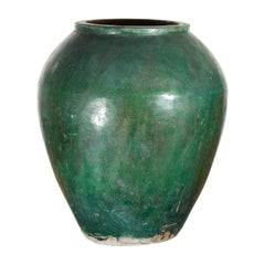 Chinese Vintage Water Jar with Verde Patina and Weathered Appearance