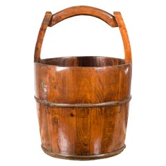 Chinese Vintage Wooden Grain Basket with Large Handle and Patina