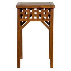 Chinese Vintage Wooden Lamp Table with Geometric Design and Stretchers