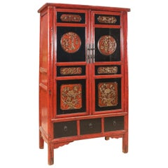 Chinese Wardrobe in Lacquered Wood from the 20th Century