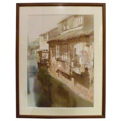 Chinese Water Color Painting of Riverside Village