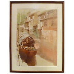 Chinese Water Color Painting of Riverside Village with Boat