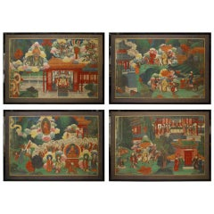 Chinese Watercolors of Court and Buddhist Scenes