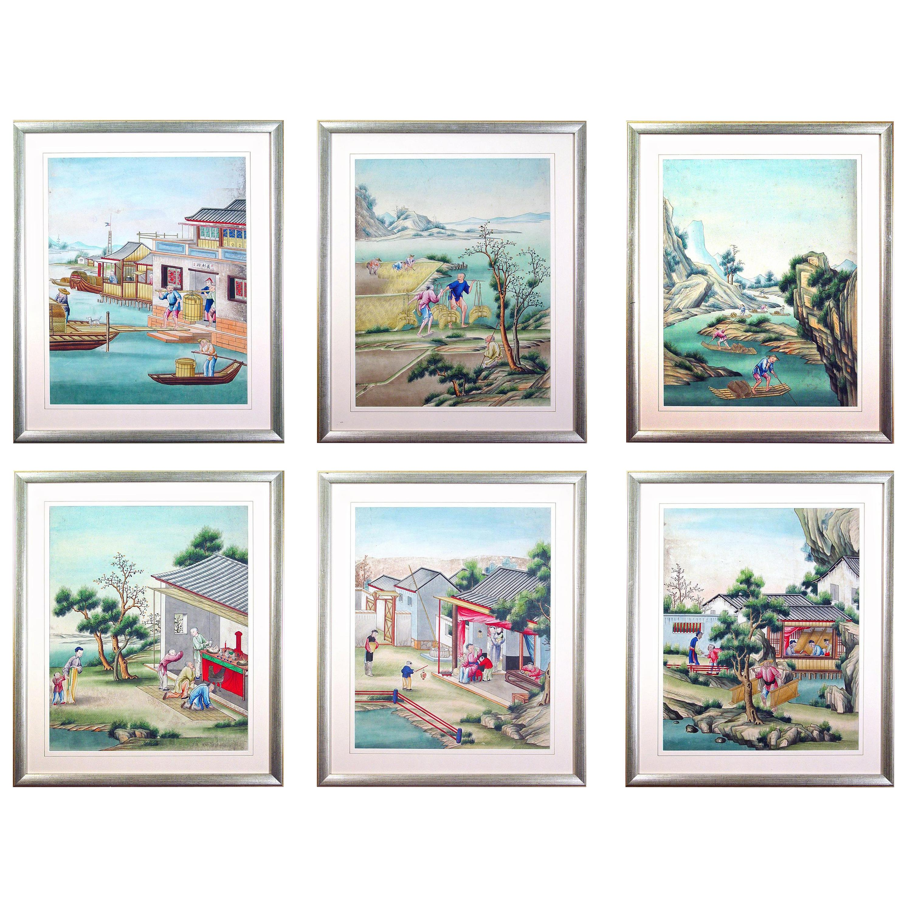 Chinese Watercolor and Gouache Paintings of Chinese Life, a Set of Six