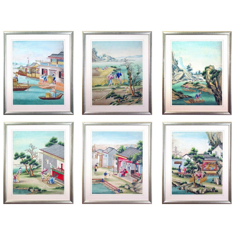 Chinese Watercolor and Gouache Paintings of Chinese Life, a Set of Six For Sale