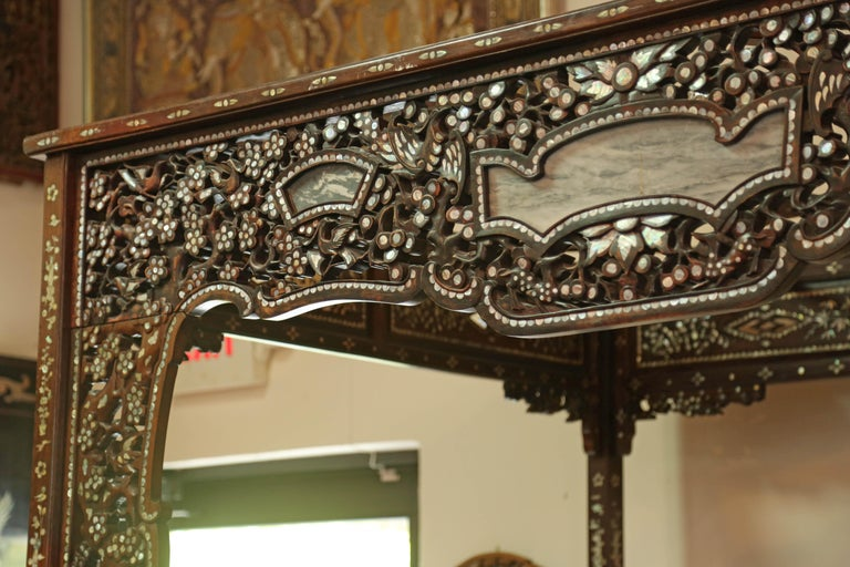 Chinese Wedding Bed, 19th Century Mother-of-Pearl Inlay Marble, Dragons, Royalty For Sale 6