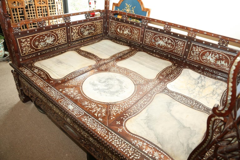 Chinese Wedding Bed, 19th Century Mother-of-Pearl Inlay Marble, Dragons, Royalty For Sale 8