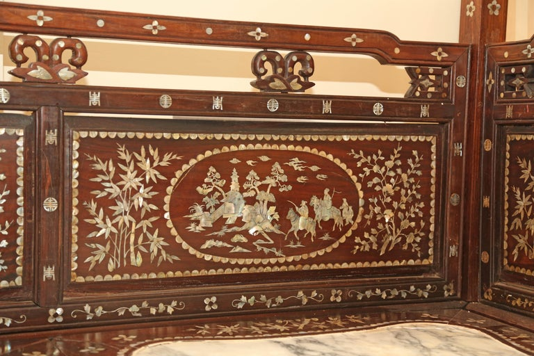 Chinese Wedding Bed, 19th Century Mother-of-Pearl Inlay Marble, Dragons, Royalty For Sale 11