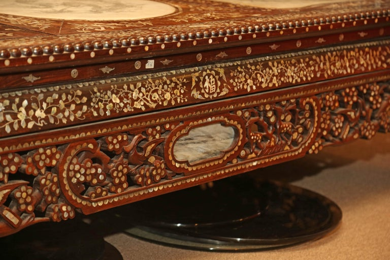 Chinese Wedding Bed, 19th Century Mother-of-Pearl Inlay Marble, Dragons, Royalty For Sale 1