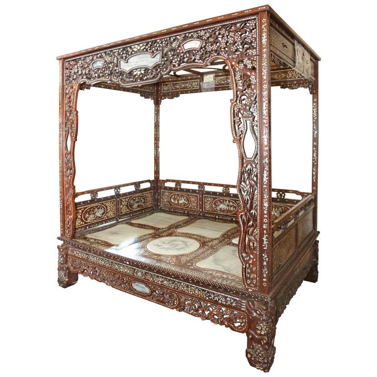 Chinese Wedding Bed, 19th Century Mother-of-Pearl Inlay Marble, Dragons, Royalty For Sale