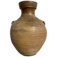 Chinese Western Han Dynasty Ash Glazed Hu Form Jar, 2nd-1st Century BC
