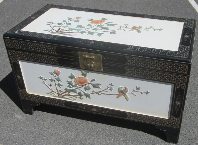 Hand-Crafted Chinese White Lacquer Camphor Wood Chest For Sale
