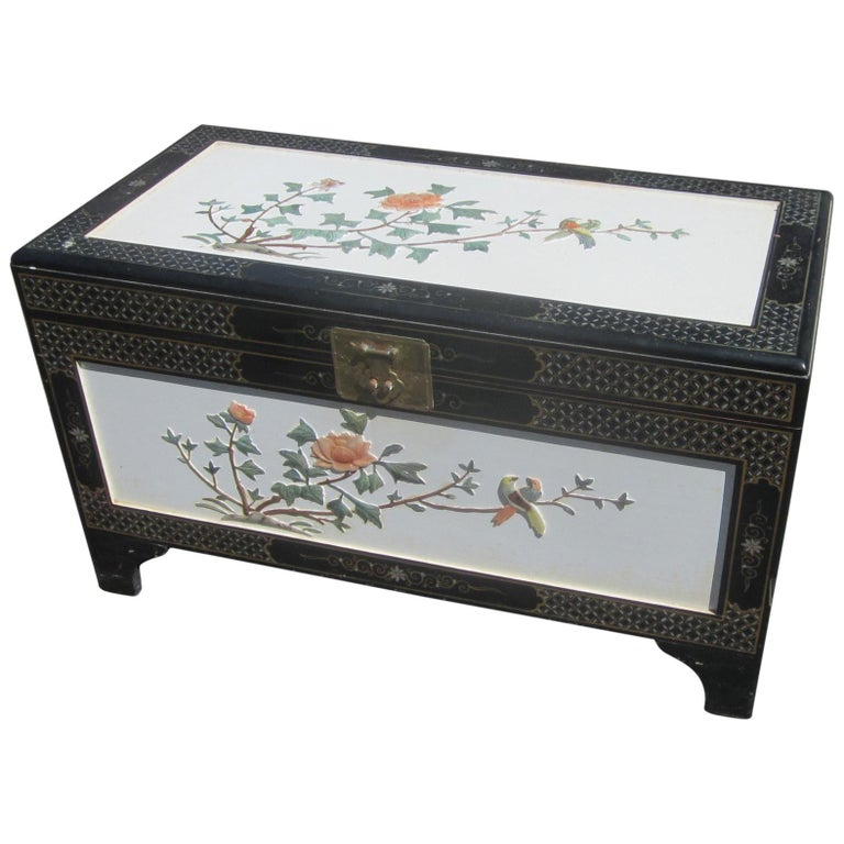 Chinese White Lacquer Camphor Wood Chest For Sale