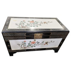 Chinese White Lacquer Camphorwood Chest