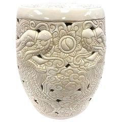 Chinese White Porcelain Dragon Garden Stool Seat