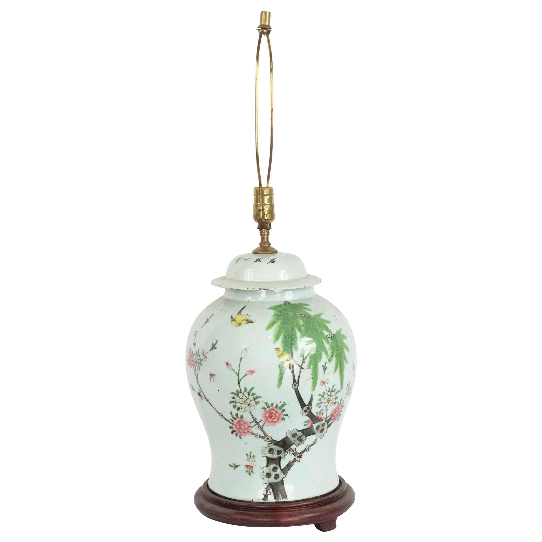 Chinese White Porcelain Ginger Jar Table Lamp