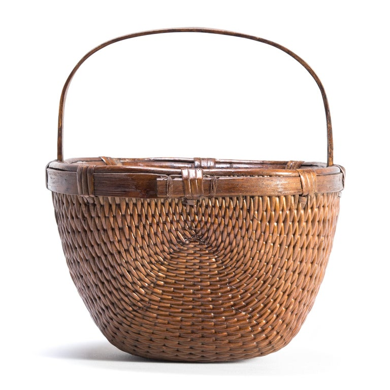 Qing Chinese Willow Market Basket, circa 1900 For Sale